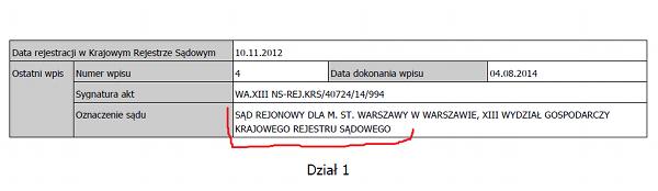 fragment wpisu krs jednej ze spółek wirtualnego biura w Warszawie